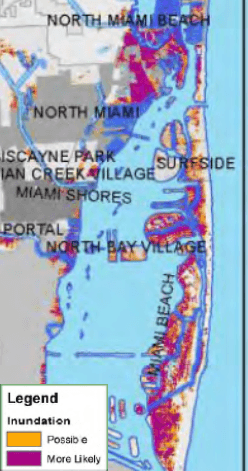 Flooding impact of 3-ft sea level rise, according to Southeast Florida Regional Climate Change Compact