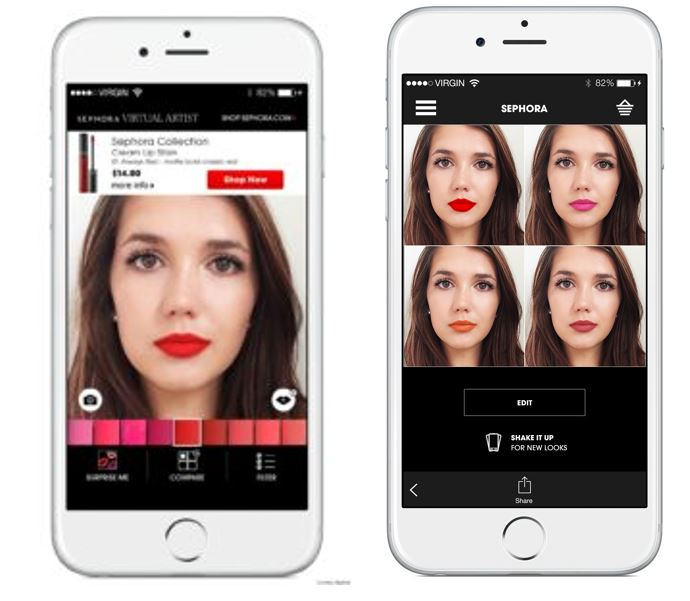 These show how Sephora's Virtual Artist feature appears via its mobile app on iPhones.