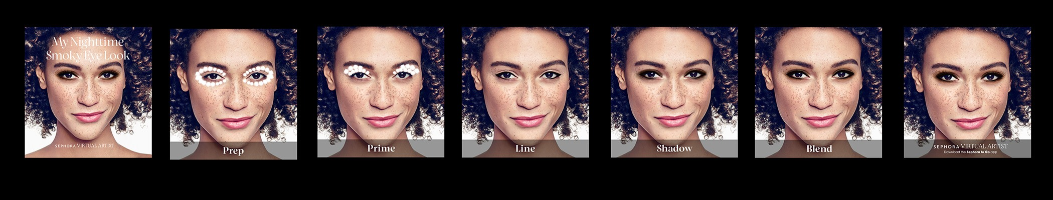 These images represent each step of Sephora's Tutorial for smokey eyes on a user's iPhone. The feature uses augmented reality such that the smokey eye is applied on one's own photo.
